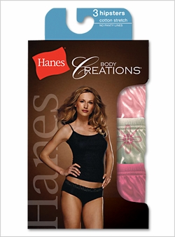 Hanes Body Creations Cotton Stretch Hipster Panties - 3 Pack