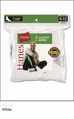 Hanes Full Cushion Ankle Socks 3 Pack