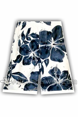 Hibiscus Board Short Swimsuit - White & Navy Blue