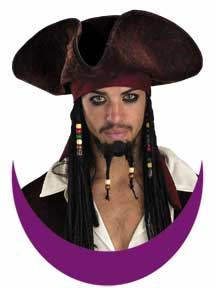 Jack Sparrow Deluxe Hat with Braids