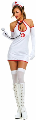 Keyhole bare back nurse dress with gloves - Closeout