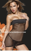 Largehole Fishnet Tube Dress & G-string - Clearance