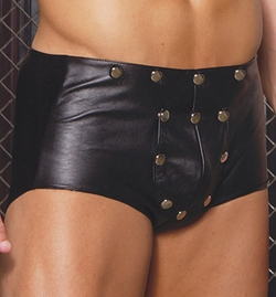 Leather Shorts with Break Away Front