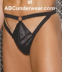 Leather Thong with Cutout