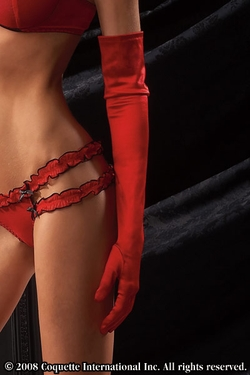 Long Red Satin Lycra Gloves