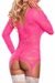 Long Sleeve Merry Widow Neon Lace Dress in Hot Pink