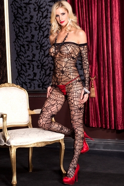 Long Sleeve Spiderweb Net Crotchless Bodystocking