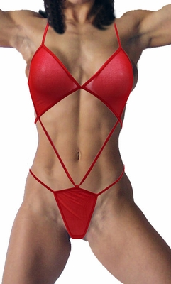 Magic Silk Sheer Red Lingerie Straps Top and Bottom - Clearance
