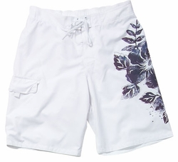 Men's Board Short - Swimsuit with Embroidery and Floral Print