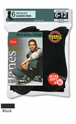Men's Hanes Classics Black Cushion Crew Socks