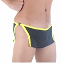 Men's Side Split Clip Easy-Off Mini Trunk Black-Yellow