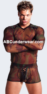 Mesh Camouflage Lace-Up Boxer Brief