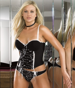 Mesh Underwire Bustier with Embroidered Details and Thong