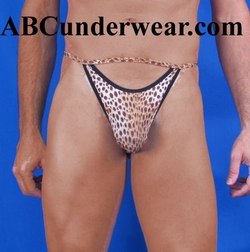 Minee Open Front Leopard Thong