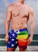 Multi-Color Stripes and Stars Mens Swim Short