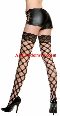 Multi Fence Net Lace Top Thigh Hi