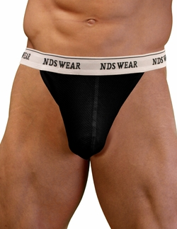 NDS Wear Mens Cotton Mesh Brazilian Thong Black
