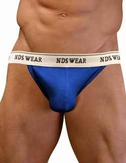 NDS Wear Mens Stretch Cotton Brazilian Thong Royal Blue