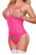 Neon Lace Cupless Merry Widow and G-String Set in Hot Pink