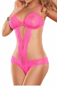 Neon Lace Cutout Teddy in Hot Pink