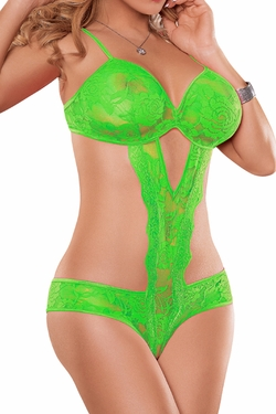Neon Lace Cutout Teddy in Lime Green