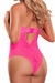 Neon Lace Keyhole Teddy in Hot Pink