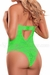 Neon Lace Keyhole Teddy in Lime Green