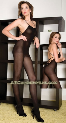 Opaque Lace Up Back Crotchless Bodystocking