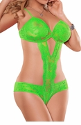 Plus Size Cutout Teddy Neon Lace in Lime Green