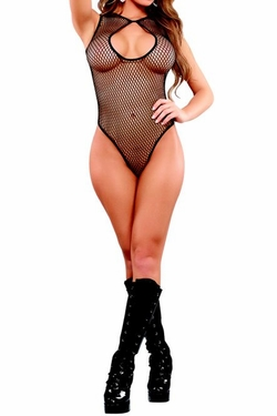 Plus Size Fishnet Keyhole Teddy - Black