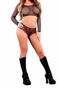 Plus Size Fishnet Long Sleeve Crop Top & Short Set - Black