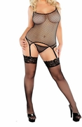 Plus Size Fishnet Merry Widow & G-String - Black
