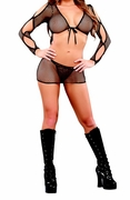 Plus Size Fishnet Peek-a-Boo Sleeve Top, Skirt & G-string - Black