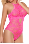 Plus Size Keyhole Teddy Neon Lace in Hot Pink
