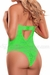 Plus Size Keyhole Teddy Neon Lace in Lime Green