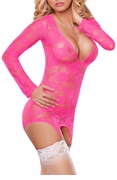 Plus Size Long Sleeve Merry Widow Neon Lace Dress in Hot Pink