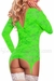 Plus Size Long Sleeve Merry Widow Neon Lace Dress in Lime Green