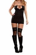 Plus Size Midnight Bound Keyhole Chemise & G-String - Black