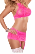 Plus Size Neon Lace Crop Top, Garter Skirt, & G-String Set in Hot Pink
