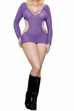 Plus Size Party Girl Cut Out Dress & G-String - purple