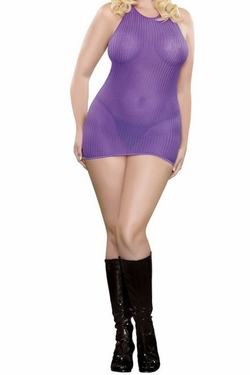 Plus Size Party Girl Halter Dress & G-string - purple