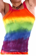 Rainbow Tie Dye Gay Pride Mens Square Strap Ribbed Tank Top