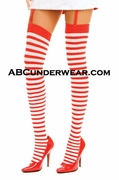Red & White Opague Striped Thigh Hi Stockings