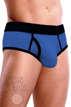 Ribbed Pouch Brief - Blue and Black