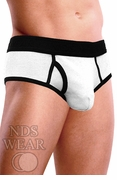 Ribbed Pouch Brief - White and Black