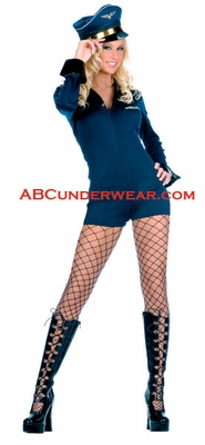 Sexy Female Navy Blue Pilot Costume - Closeout
