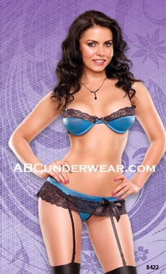 Sexy Lace Bra and Garter with G-String Set