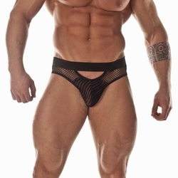 Sheer Black Panther Scoop Brief Men's Underwear