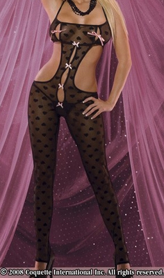 Sheer Heart Bodystocking with Bows - Small -CLEARANCE