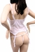 Sheer Lace Garter Bustier & G-String Lingerie Set - White